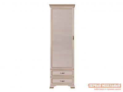 Распашной шкаф  - пенал Сиена Бодега белый, патина золото КУРАЖ. Цвет: светлое дерево