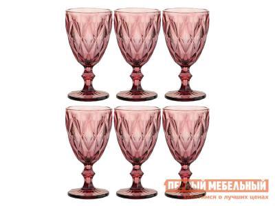 Бокал  Ромбо 6 шт. Граненое стекло, розовый Арти-М. Цвет: розовый