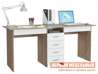 Компьютерный стол  для двоих Тандем-2Я (0120) Дуб сонома / Белый МФ Мастер. Цвет: светлое дерево