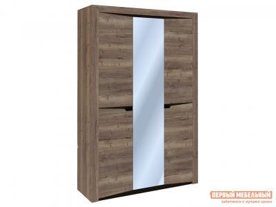 Шкаф распашной  3-х дверный Гарда Дуб галифакс Табак, С узкими и широкими полками СБК. Цвет: коричневое дерево