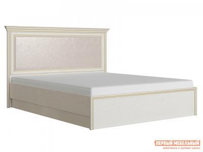 Двуспальная кровать  с подъемным механизмом Венето Дуб молочный / Кожа перламутр, 140х200 см КУРАЖ. Цвет: бежевый
