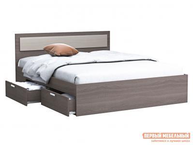 Двуспальная кровать  Жаклин с ящиками Ясень шимо темный / светлый, 1400 Х 2000 мм ВВР. Цвет: темное-cветлое дерево