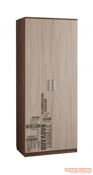 Распашной шкаф  Колледж 2-створчатый Ясень Шимо темный / светлый Мебельсон. Цвет: темное-cветлое дерево