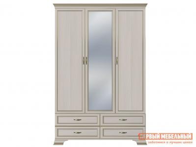 Распашной шкаф  3-х дверный Сиена Бодега белый, патина золото, С зеркалом КУРАЖ. Цвет: светлое дерево