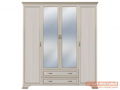 Распашной шкаф  4-х дверный Сиена Бодега белый, патина золото, С двумя зеркалами КУРАЖ. Цвет: светлое дерево