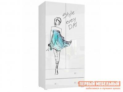 Детский шкаф  Модерн 6 2-дверный с ящиками Бело-серый / глянец, стиль Эра. Цвет: белый