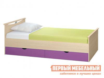 Детская кровать  Мелисса с выдвижными ящиками Корпус Шимо светлый / Фасад Виола, Спальное место 1200 Х 2000 мм Боровичи. Цвет: фиолетовый