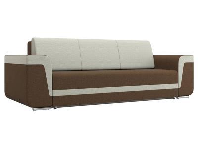 Прямой диван  Рико Коричневый / Бежевый, рогожка Столлайн. Цвет: коричневый