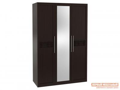 Распашной шкаф  3-х дверный с зеркалом Парма Венге / Искусственная кожа caiman КУРАЖ. Цвет: коричневый