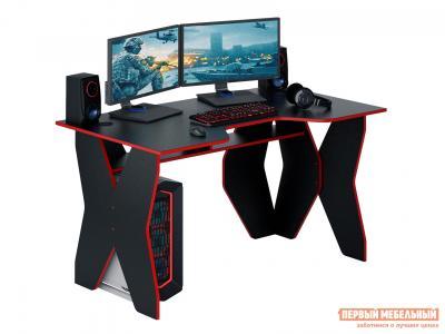 Компьютерный стол  МСТ-СИФ-01 игровой Форсаж-1 Черный с красной кромкой МФ Мастер. Цвет: черный
