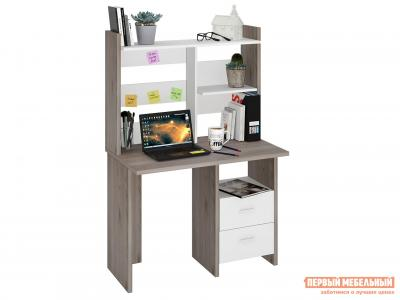 Компьютерный стол  СКЛ-ПРЯМ100+НКЛ-100 Нельсон / Белый Жемчуг Мэрдэс. Цвет: белый