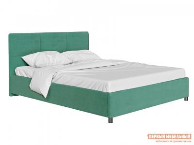 Двуспальная кровать  с мягким изголовьем Агата Мятный, велюр, 140х200 см Первый Мебельный. Цвет: зеленый