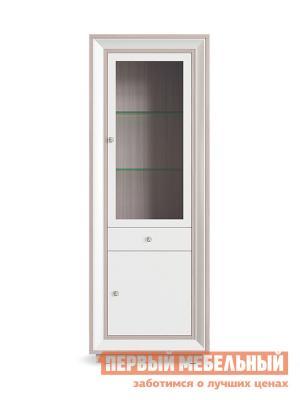 Шкаф-витрина  Шкаф Прато 1 стеклодверь,1 ящик Корпус Ясень Шимо светлый, фасад Жемчуг, багет Без подсветки КУРАЖ. Цвет: светлое дерево