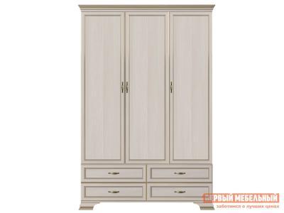 Распашной шкаф  3-х дверный Сиена Бодега белый, патина золото, Без зеркала КУРАЖ. Цвет: светлое дерево