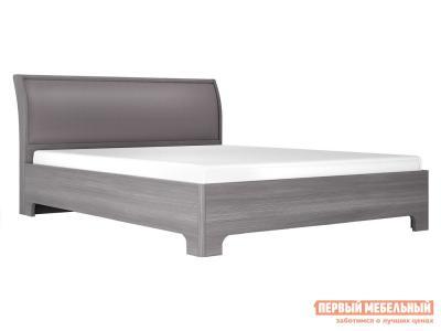 Односпальная кровать  Кровать-3 Лиственница темная / Экокожа дила, 1200 Х 2000 мм КУРАЖ. Цвет: серый