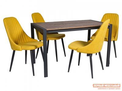 Обеденная группа для столовой и гостиной  Стол Кастел + 4 Стула Шато Галифакс ЛДСП / Канди сани, велюр Графит Древпром. Цвет: желтый