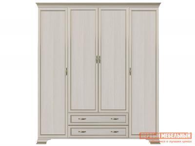 Распашной шкаф  4-х дверный Сиена Бодега белый, патина золото, Без зеркала КУРАЖ. Цвет: светлое дерево