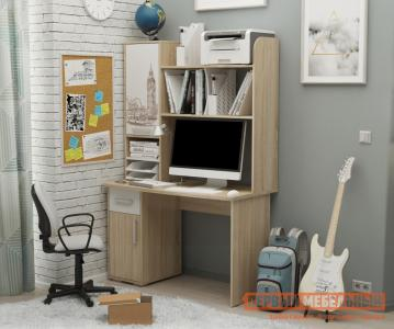 Компьютерный стол  Лайт-1 1200 + Надстройка Дуб сонома / Белый Мебельсон. Цвет: белый