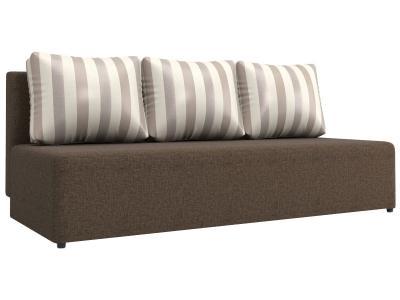 Прямой диван  Нексус Коричневый, рогожка / Серая полоска, жаккард Столлайн. Цвет: серый