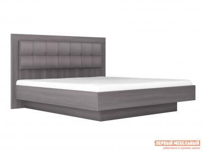 Двуспальная кровать  с подъемным механизмом Парма НЕО 5 Лиственница темная / Экокожа дила, 1400 Х 2000 мм КУРАЖ. Цвет: серый