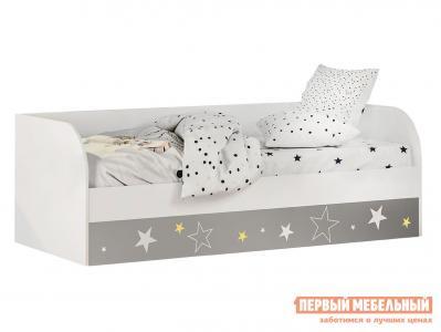 Детская кровать  Трио (с подъёмным механизмом) КРП-01 Белый, звездное детство, Без бортика, мягкой спинки, Тиффани, велюр BTS. Цвет: белый