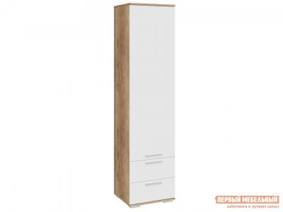 Шкаф распашной  Пенал Лейла с 2 ящиками Дуб каньон / Белый глянец ЭтоМебель. Цвет: белый