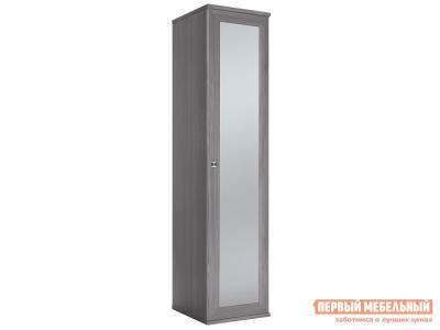 Распашной шкаф  Шкаф-пенал Парма НЕО Лиственница темная / Экокожа дила, С зеркальным фасадом КУРАЖ. Цвет: серый