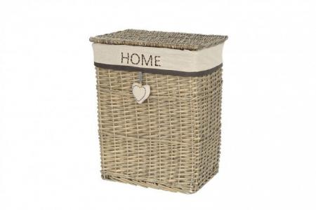 Корзина для белья с крышкой Home Hoff. Цвет: серый, белый