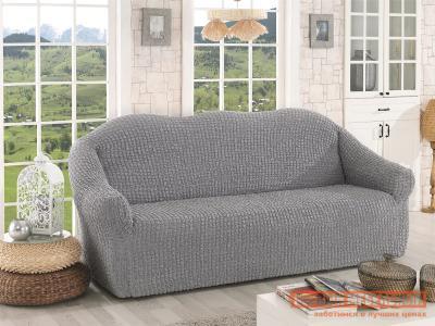 Чехол для мебели  дивана Стамбул трехместный без юбки Серый KARNA. Цвет: серый