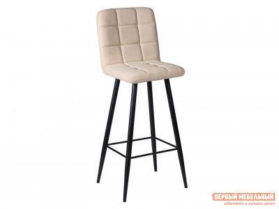 Барный стул  ДП2-08 М106 Канди крем, велюр / Черный матовый ДревПром. Цвет: бежевый